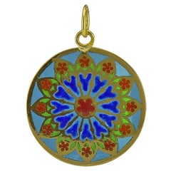 Antique French Plique-a-Jour Gold Pendant