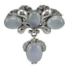 Georg Jensen Chalcedony Silver Pin