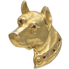 Antique Ruby Diamond Yellow Gold Dog Pin