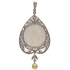 Antique Pearl Mother-of-Pearl Diamond Pendant