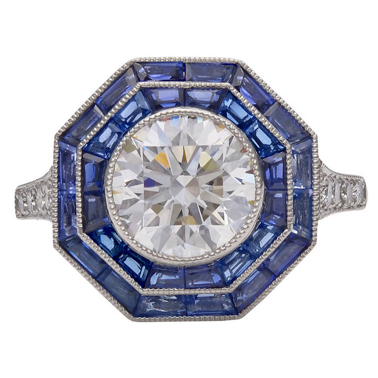 Tiffany & Co. Sapphire Diamond Platinum Octagonal Ring For Sale