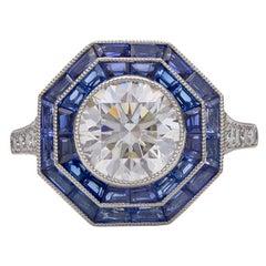 Tiffany & Co. Sapphire Diamond Platinum Octagonal Ring