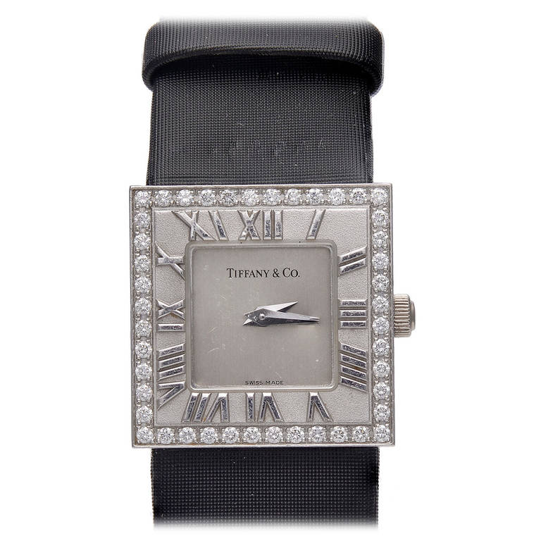 Tiffany & Co. Lady's White Gold and Diamond Atlas Wristwatch