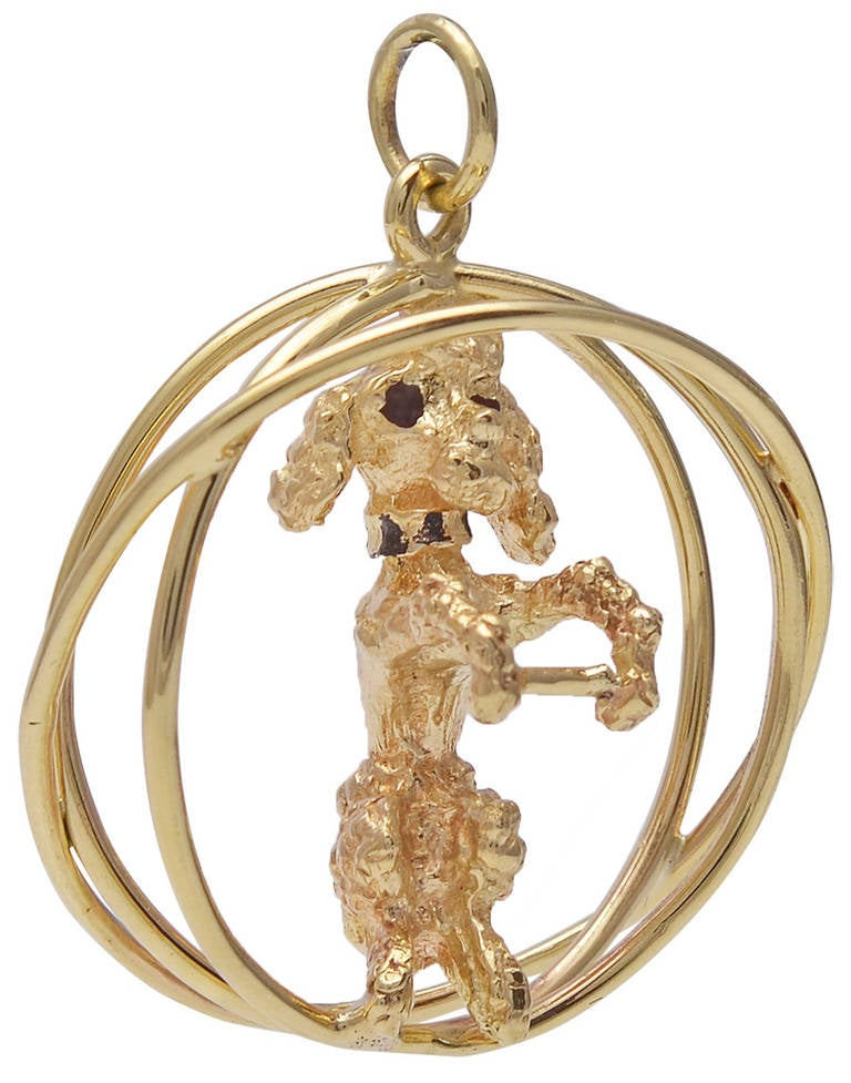 sapphire gold poodle charm at 1stdibs