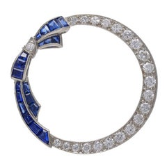 Antique Sapphire Diamond Platinum Circle Bow Pin