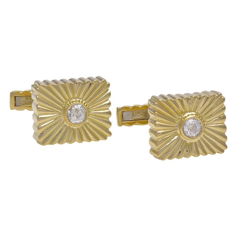 David Webb Diamond Gold Cufflinks For Sale