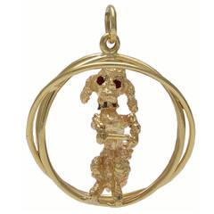 Sapphire Gold Poodle Charm