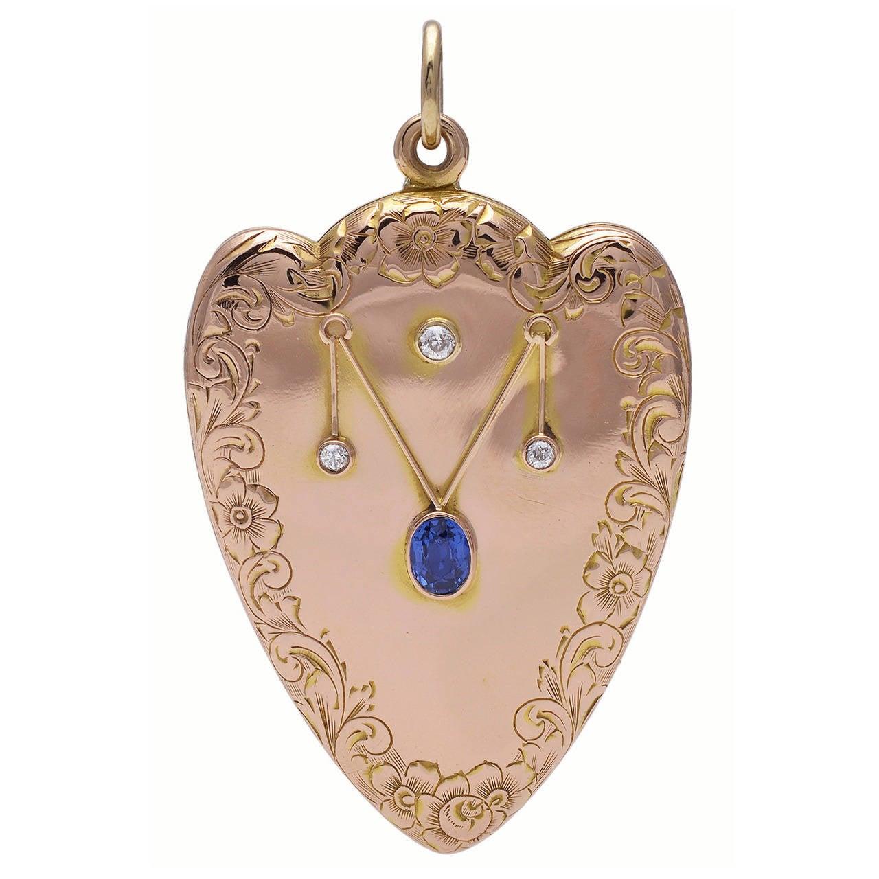 Sapphire Diamond Gold Heart Locket