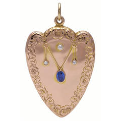 Sapphire Diamond Gold Heart Locket