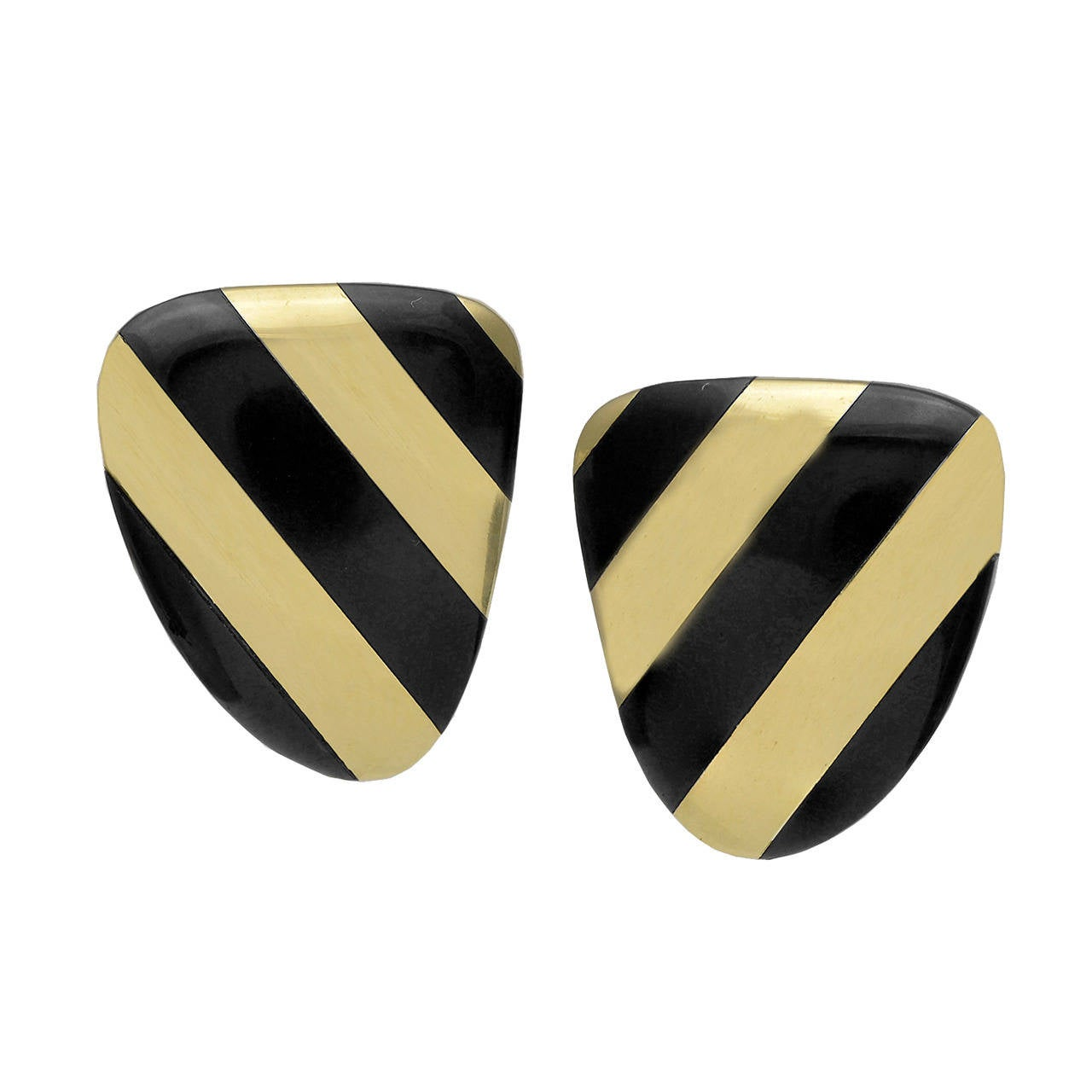 Tiffany & Co. Onyx Gold Ear Clips