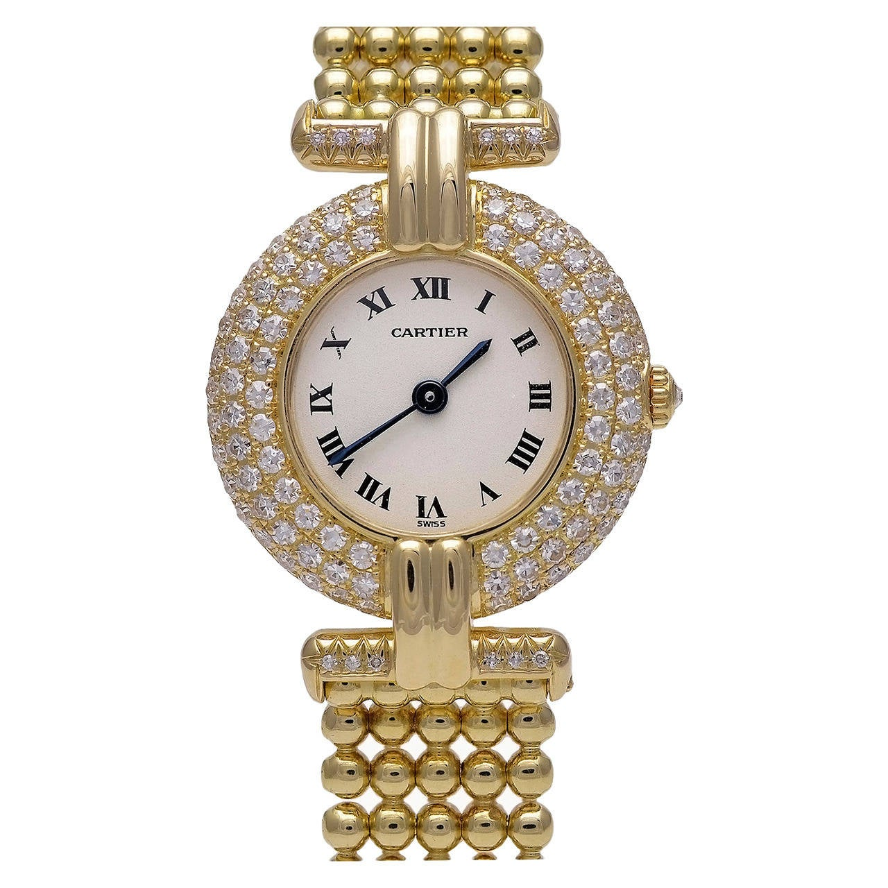 Cartier Yellow Gold and Diamond Colisee Wristwatch with Bracelet