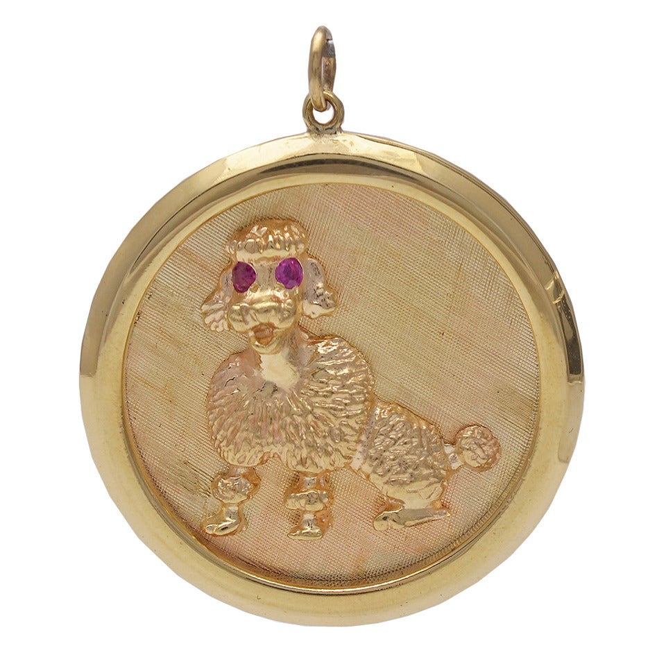 Large Ruby Gold Poodle Charm