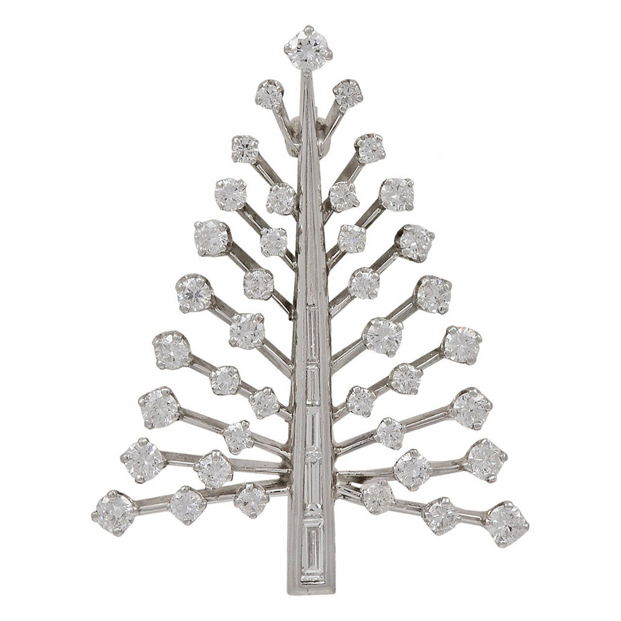 Diamond Platinum Christmas Tree Pin at 1stdibs