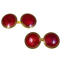 Red Enamel Antique Cufflinks