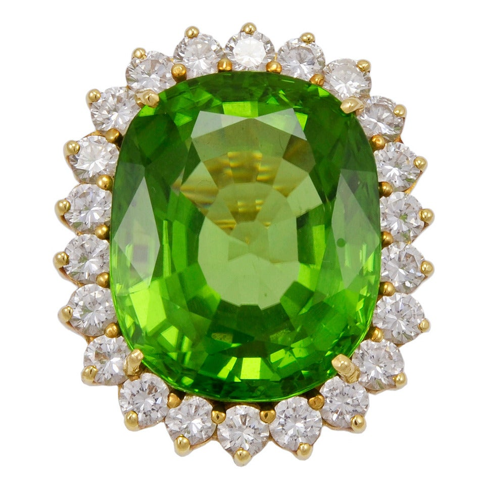 Peridot and Diamond Large Cocktail Ring