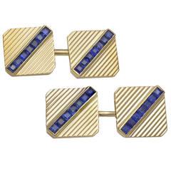 Art Deco Sapphire Gold Cufflinks