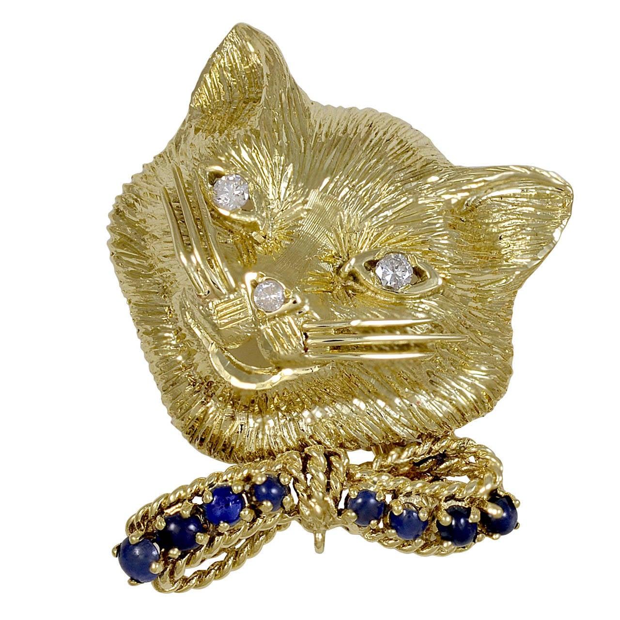 Diamond Sapphire Gold Cat Brooch