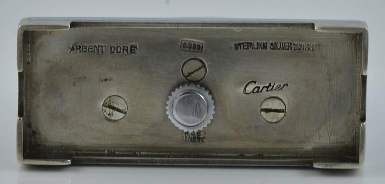 Cartier Antique Enamel Silver Miniature Mantel Clock 3