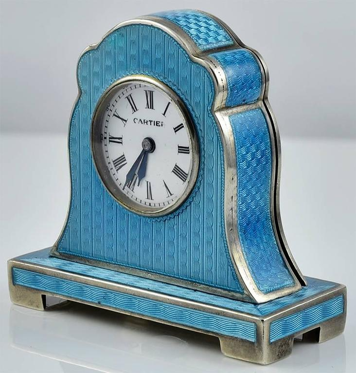 cartier antique enamel silver miniature mantel clock 2 - Mantel Clock