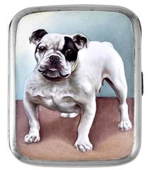 Best Ever Antique Bulldog Enamel Sterling Silver Case