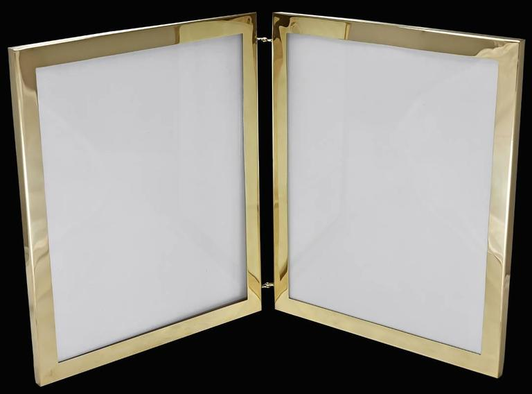 Women's or Men's Cartier Rare Large Gold Double Picture Frame For Sale