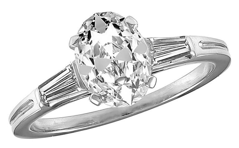 Baguette Cut Tiffany & Co. 1.20 Carat Diamond Platinum Engagement Ring For Sale