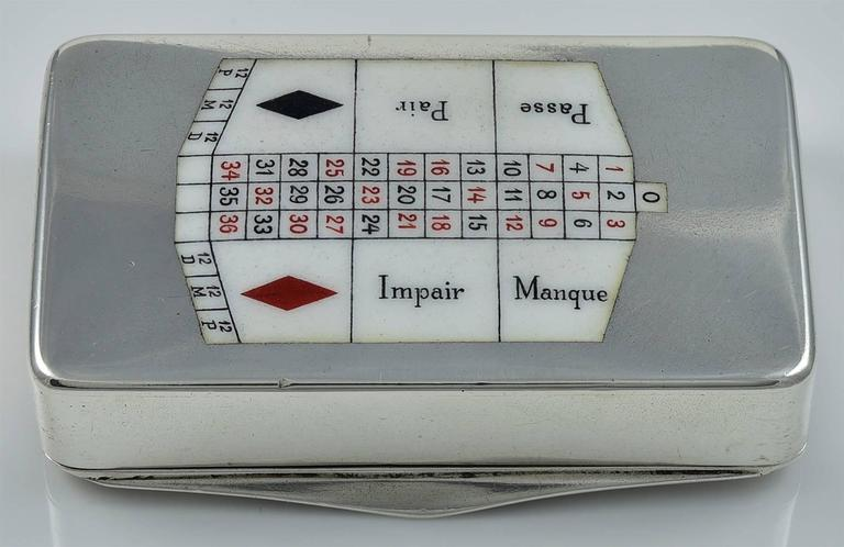 Antique sterling silver hinged box.  On the top is an enamel roulette wheel; on the bottom, an enamel betting table. Red, white and black enamel.  2.25