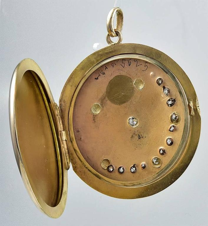 Large Antique Moon and Star Rose Gold and Diamond Locket 2