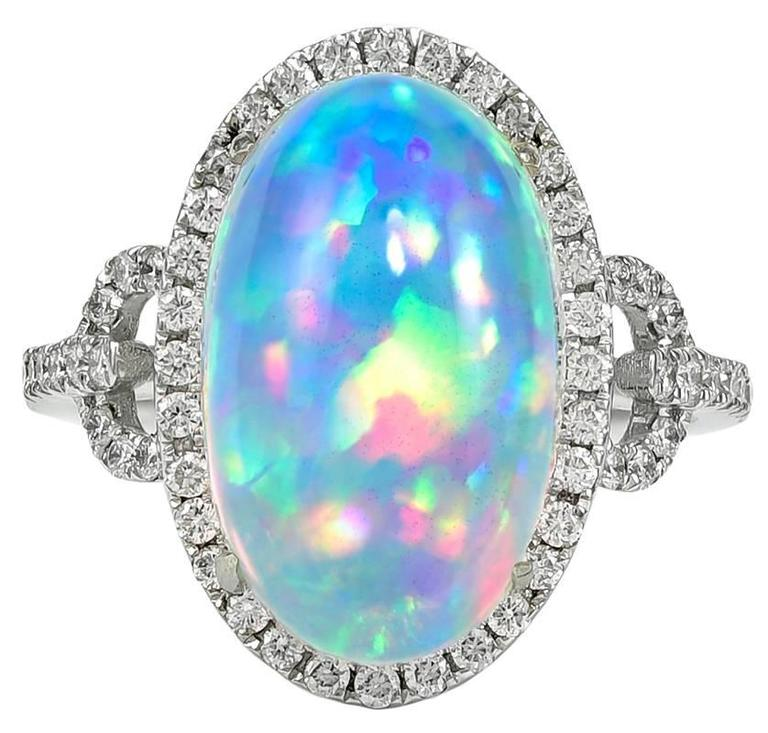 Mesmerizing Fire Opal White Gold Ring