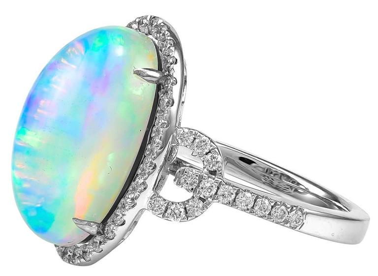 Mesmerizing Fire Opal White Gold Ring For Sale at 1stdibs