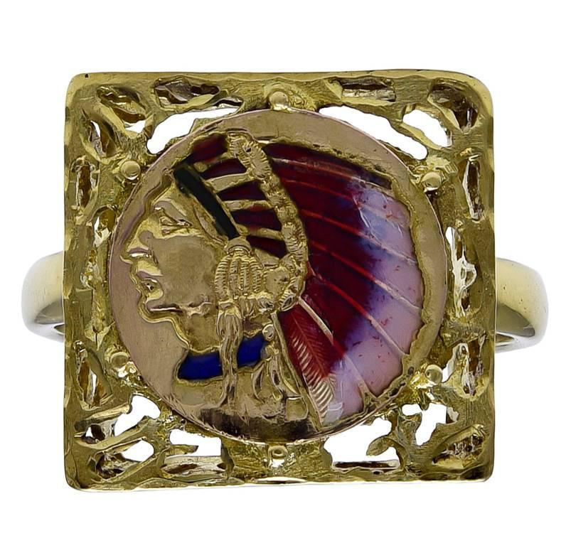 Enamel Gold Indian Head Ring