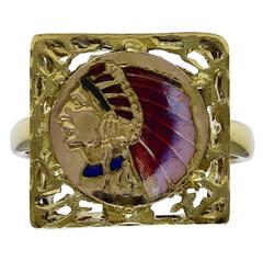Enamel Gold Indian Head Ring