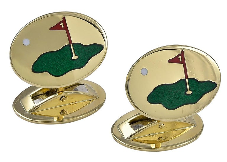 Women's or Men's Gold and Enamel Asprey Golf Cufflinks For Sale