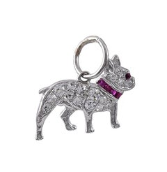 Antique Platinum Gemset French Bulldog Charm