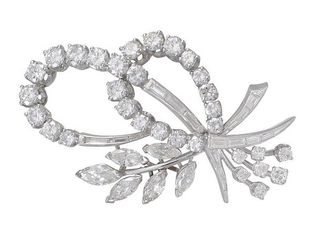Beautiful Diamond Platinum Brooch