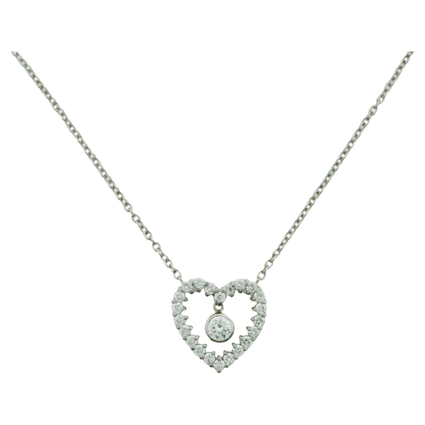 Platinum and Diamond Heart Necklace 1.05 Carats Total Weight