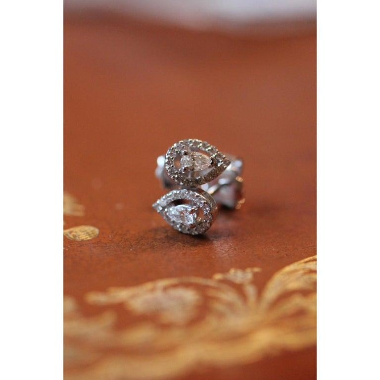 Pear Cut 0.36 Carat GVS Pear Diamond Clip-On Earrings 18 Karat White Gold Stud Earrings For Sale