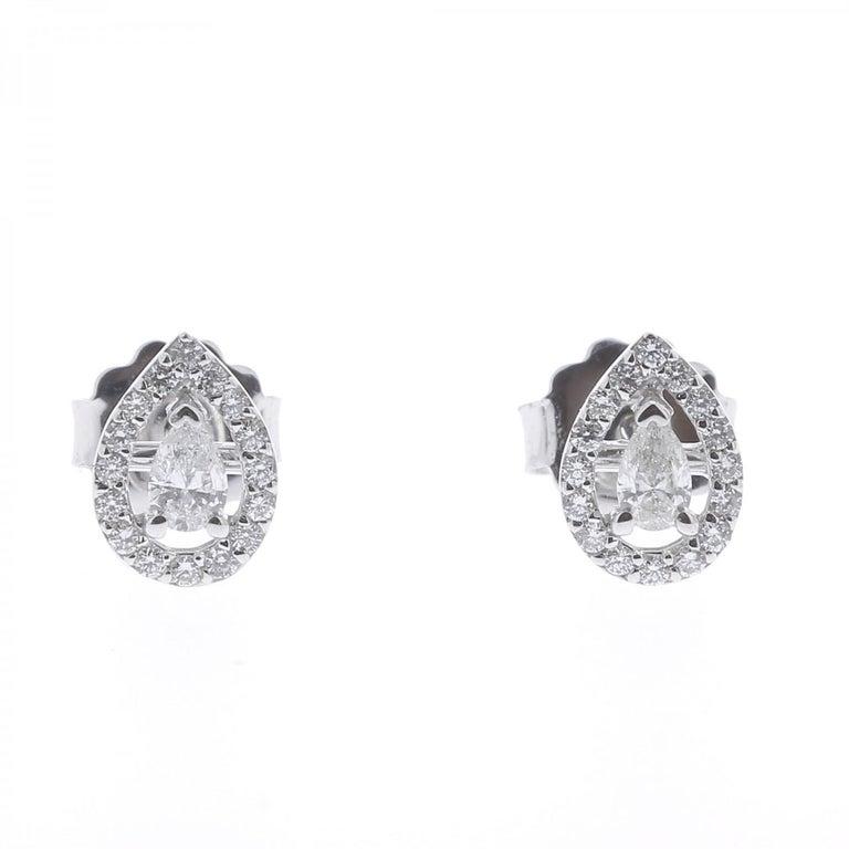 0.36 Carat GVS Pear Diamond Clip-On Earrings 18 Karat White Gold Stud Earrings For Sale