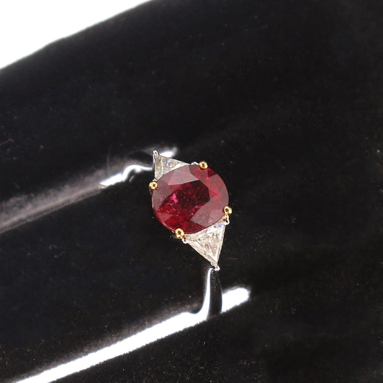 Cushion Cut 2.22 Carat Cushion Ruby Ring Three-Stone Ruby and Diamond Rings 18K White Gold For Sale