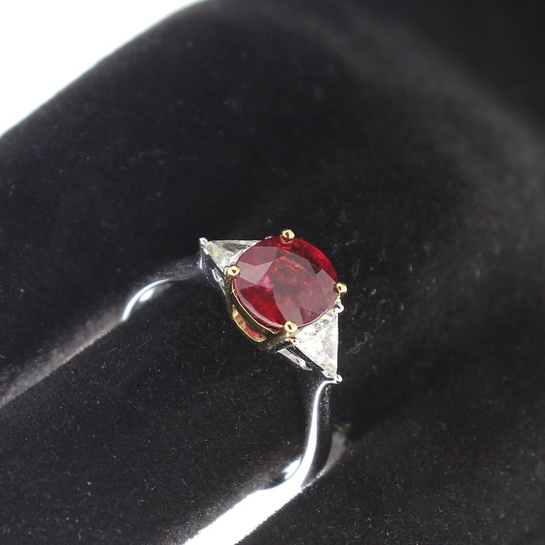 2.22 Carat Cushion Ruby Ring Three-Stone Ruby and Diamond Rings 18K White Gold For Sale 1