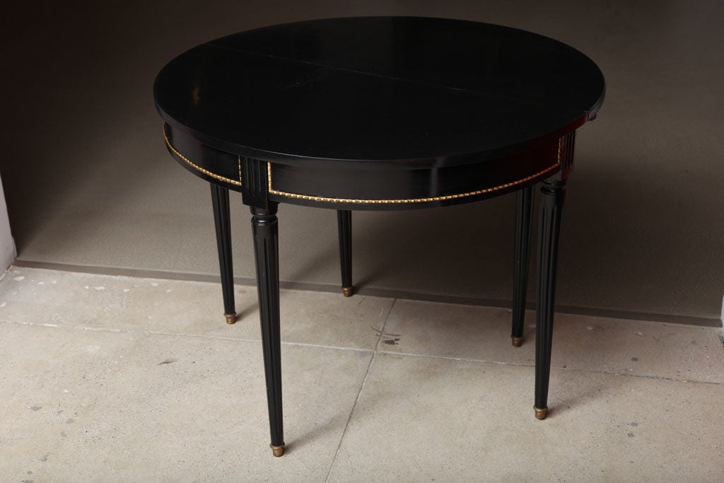 Sleek and Chic Black Lacquered Demilune Table Attrib. to Jansen image 10
