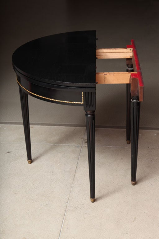Sleek and Chic Black Lacquered Demilune Table Attrib. to Jansen image 2