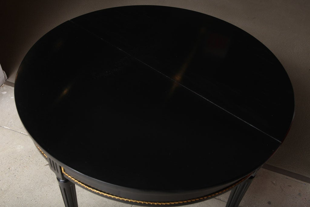 Sleek and Chic Black Lacquered Demilune Table Attrib. to Jansen image 5