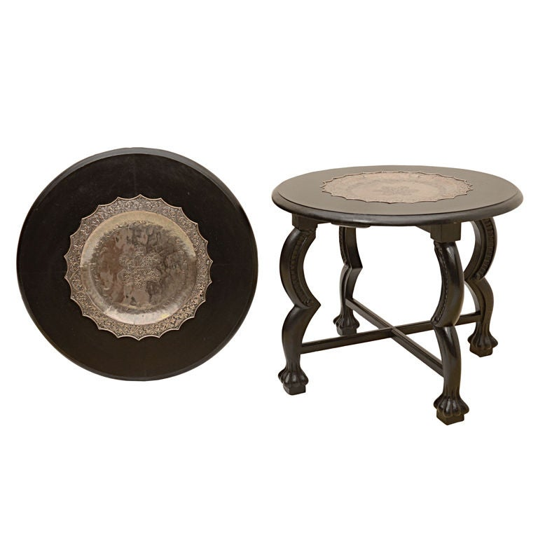 Pair Indian Mogul Style Low Table With Silvered Tray Tops At 1stdibs
