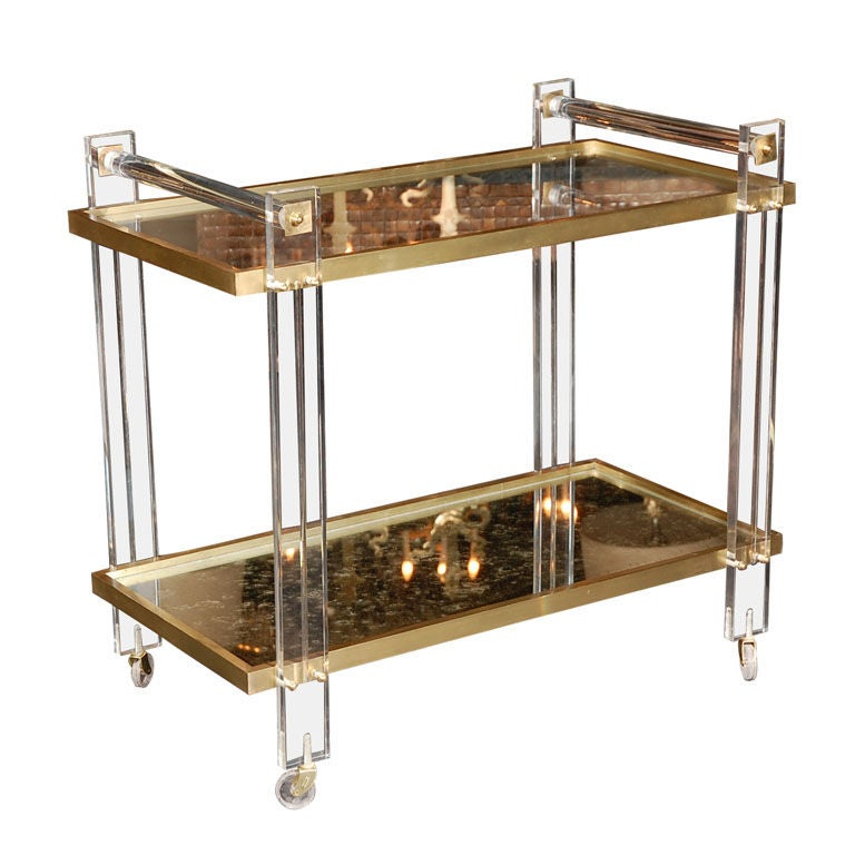 Lucite and Brass Tea Cart attributed to Karl Springer
