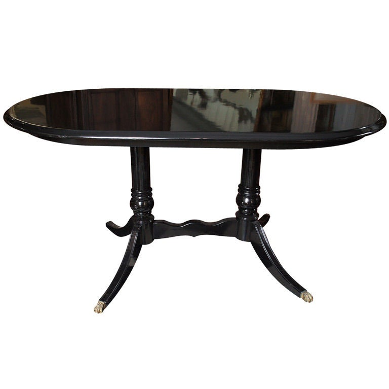 Black Lacquered Oval Dining Table At 1stdibs
