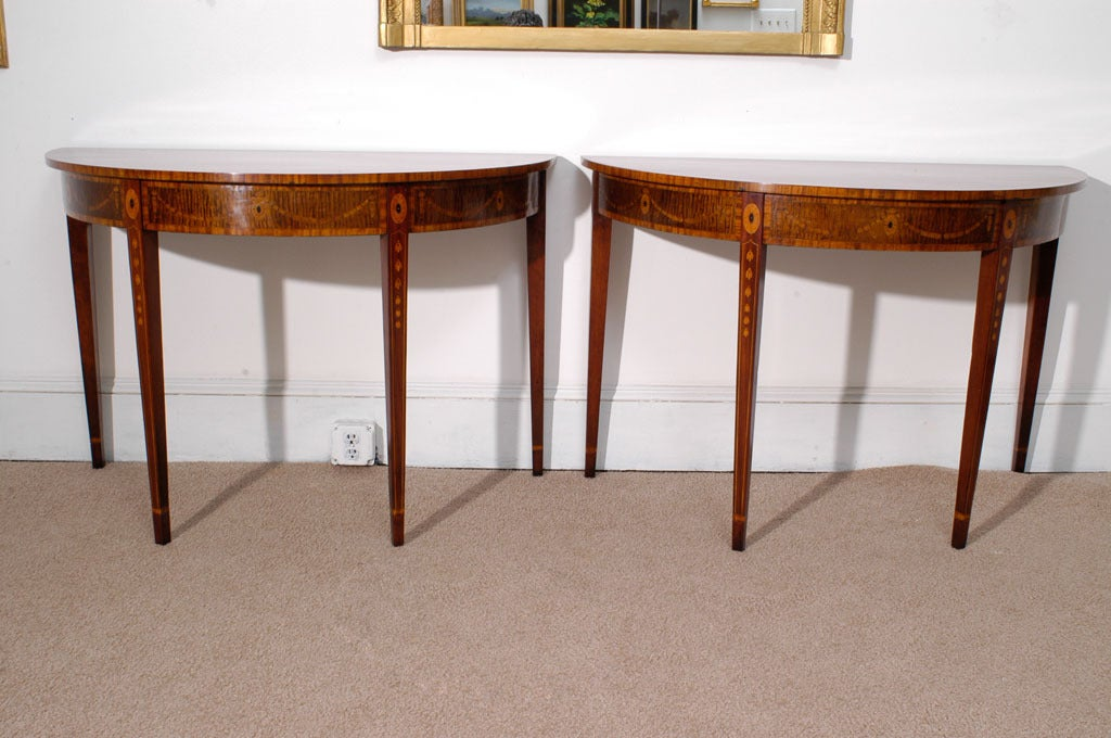 Pair of Hepplewhite Demi-Lune Console Tables at 1stdibs