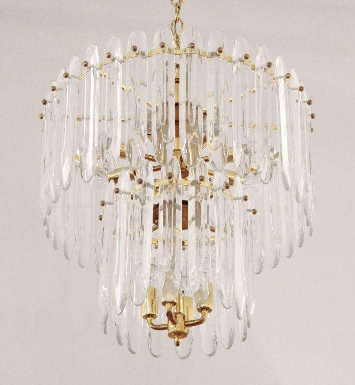 Mid-20th Century Chandelier with Large Crystals by Sciolari For Sale