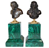 Pair of Sculpture Bronze Portrait Busts with Malachite, 19th Century