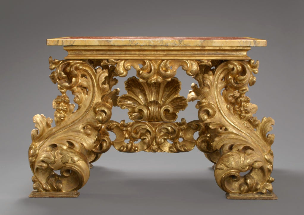 An italian baroque carved giltwood console table at 1stdibs for Baroque furniture